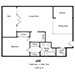 432 North Palm Drive - 1 Bedroom, 1½ Baths, Den - Floor Plan